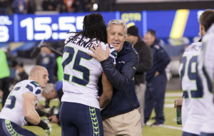 """Richard Sherman and Pete Carroll in embrace Super Bowl XLVIII"" by Anthony Quintano - Flickr: Super Bowl XLVIII (48) New York New Jersey. Licensed under CC BY 2.0 via Wikimedia Commons - http://commons.wikimedia.org/wiki/File:Richard_Sherman_and_Pete_Carroll_in_embrace_Super_Bowl_XLVIII.jpg#mediaviewer/File:Richard_Sherman_and_Pete_Carroll_in_embrace_Super_Bowl_XLVIII.jpg"