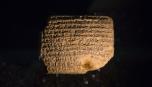 One of the clay tablets on display in the Bible Lands Museum exhibit. / Photo by Olivier Fitoussi